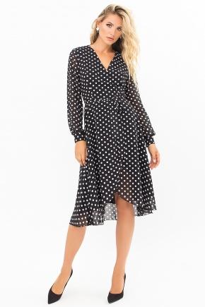 Платье Алеста д/р. Цвет: черный-белый горох