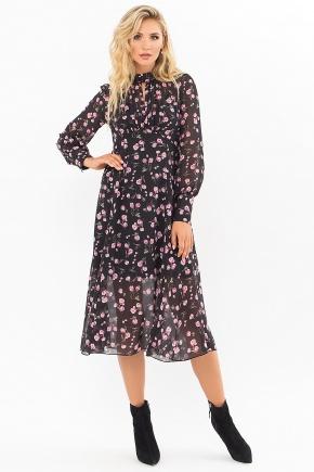 Платье Мануэла д/р. Цвет: черный-розов.тюльпаны