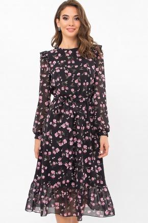 Платье Арита д/р. Цвет: черный-розов.тюльпаны