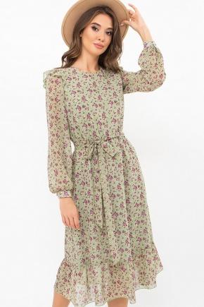 Платье Арита д/р. Цвет: хаки- сиреневые цветы