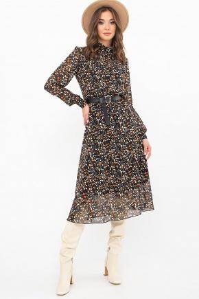 Платье Вита д/р. Цвет: черный-цветы-ягоды
