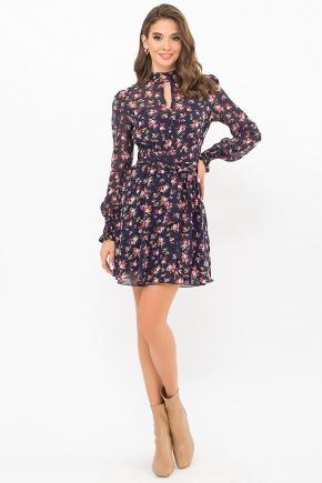Платье Рина д/р. Цвет: синий-букет разноцветн