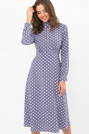 Платье Санторини-1 д/р. Цвет: серый-белый горох