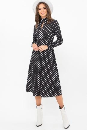 Платье Санторини-1 д/р. Цвет: черный-белый горох