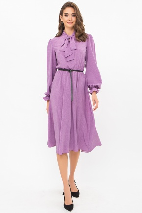 Платье Дельфия д/р. Цвет: сирень-точка черная