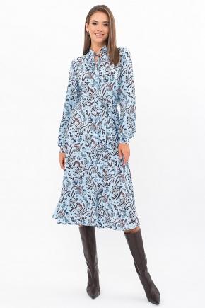 Платье Сардиния д/р. Цвет: голубой-цветы-листики