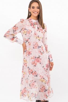 Платье Мануэла д/р. Цвет: белый-персик.Розы