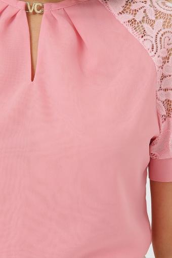персиковая блузка с коротким рукавом. Блуза Ильва к/р. Цвет: персик в Украине