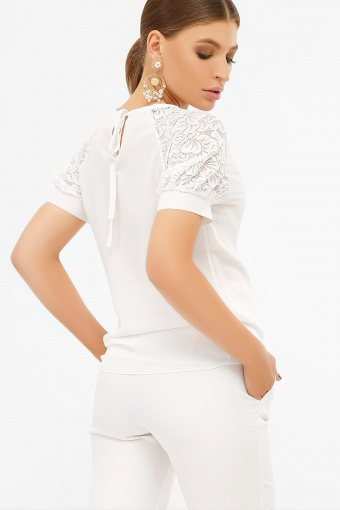 персиковая блузка с коротким рукавом. Блуза Ильва к/р. Цвет: белый цена