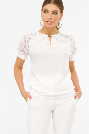 персиковая блузка с коротким рукавом. Блуза Ильва к/р. Цвет: белый купить