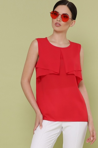 красная блузка без рукавов. Блуза Юлия к/р. Цвет: красный цена