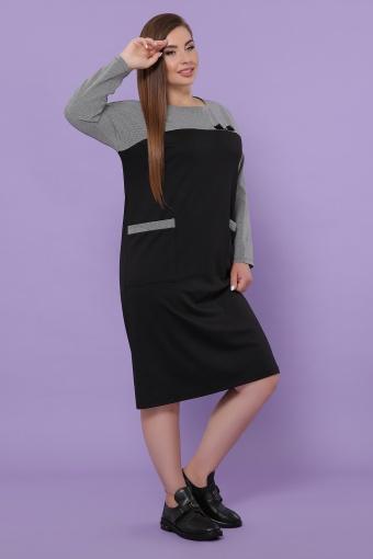 синее платье батал. Платье Джоси-Б д/р. Цвет: черный-лапка м.черная в интернет-магазине