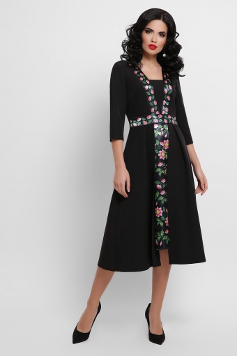 черное платье с цветочным принтом. Орнамент Платье Вилора П д/р. Цвет: черный цена