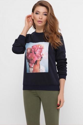синий свитшот с цветами. голубой-Пионы розовые Свитшот Т-1 (зима)  д/р. Цвет: синий цена