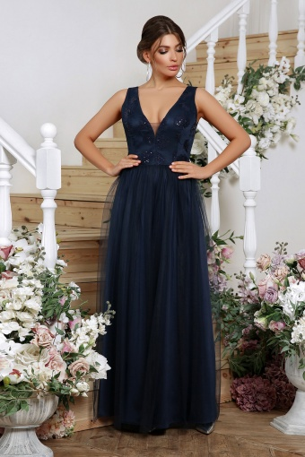 лиловое вечернее платье. Платье Вайнона б/р. Цвет: синий цена