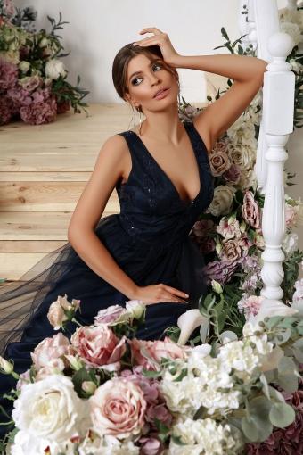 лиловое вечернее платье. Платье Вайнона б/р. Цвет: синий недорого