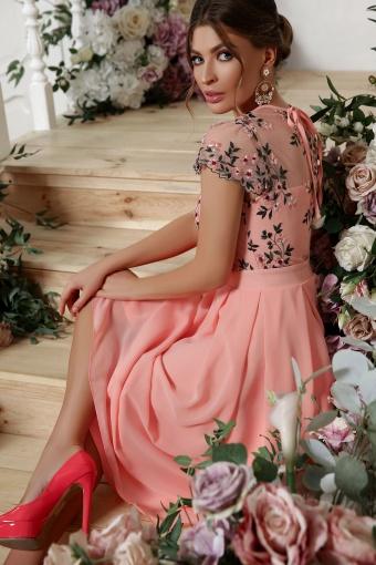 нежное платье миди. Платье Айседора б/р. Цвет: персик в Украине