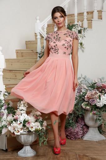 нежное платье миди. Платье Айседора б/р. Цвет: персик купить