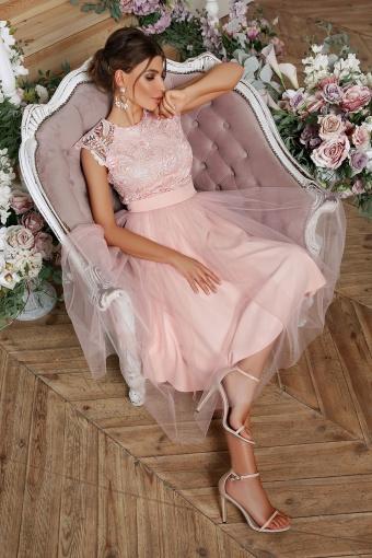 пышное платье миди. Платье Джуди б/р. Цвет: персик недорого