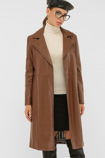 кожаный плащ коричневого цвета. Плащ 108-100 (К). Колір: 607-коричневый цена