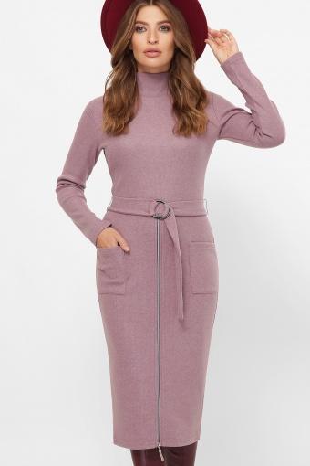теплое платье-футляр. Платье Виталина 1 д/р. Цвет: т. лиловый в интернет-магазине