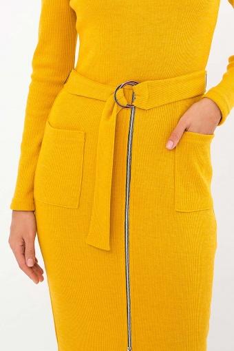 теплое платье-футляр. Платье Виталина 1 д/р. Цвет: горчица в Украине