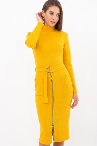 теплое платье-футляр. Платье Виталина 1 д/р. Цвет: горчица купить