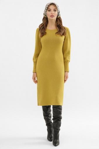 терракотовое платье из ангоры. Платье Жизель д/р. Цвет: горчица в интернет-магазине