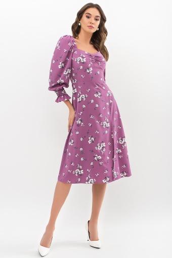 . Платье Пала д/р. Цвет: фрез-белый букет в интернет-магазине