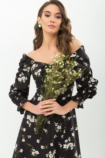 . Платье Пала д/р. Цвет: черный-белый букет в интернет-магазине
