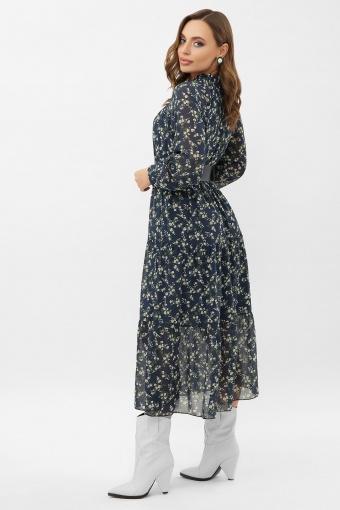 . Платье Мариэтта д/р. Цвет: синий-белый м.цветы в интернет-магазине