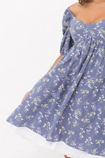 . Платье Эсмина к/р. Цвет: джинс-полевые цветы в интернет-магазине