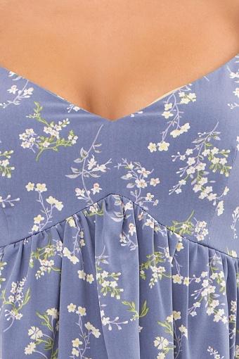 . Платье Эсмина к/р. Цвет: джинс-полевые цветы недорого