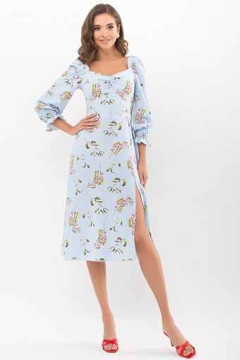 . Платье Пала д/р. Цвет: голубой-цветы-ягоды цена