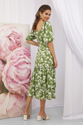 . Платье Аделаида к/р. Цвет: зеленый-белые цветы в Украине