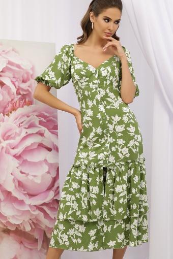 . Платье Аделаида к/р. Цвет: зеленый-белые цветы купить