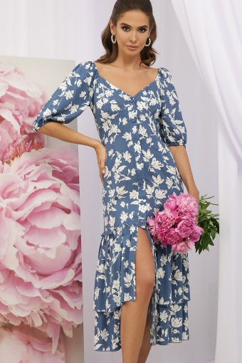 . Платье Аделаида к/р. Цвет: джинс-белые цветы цена
