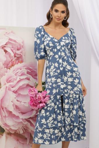 . Платье Аделаида к/р. Цвет: джинс-белые цветы в интернет-магазине
