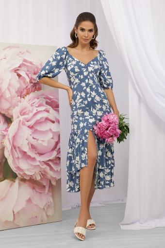 . Платье Аделаида к/р. Цвет: джинс-белые цветы купить