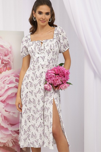 . Платье Билла к/р. Цвет: белый-сиреневый букет цена