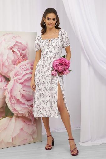 . Платье Билла к/р. Цвет: белый-сиреневый букет в интернет-магазине