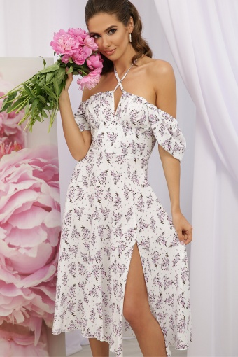. Платье Билла к/р. Цвет: белый-сиреневый букет купить