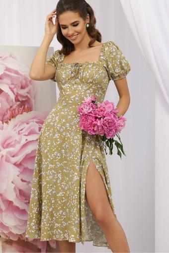 . Платье Билла к/р. Цвет: оливковый-сиреньРозы купить