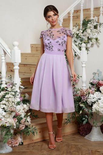 нежное платье миди. Платье Айседора б/р. Цвет: лавандовый 2 в интернет-магазине