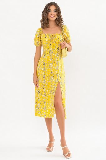 . Платье Билла к/р. Цвет: желтый-белые цветы цена