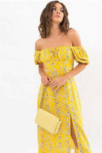 . Платье Билла к/р. Цвет: желтый-белые цветы в интернет-магазине