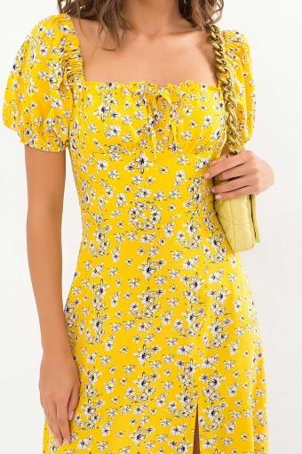 . Платье Билла к/р. Цвет: желтый-белые цветы недорого