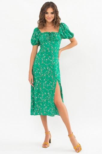 . Платье Билла к/р. Цвет: зеленый-цветы веточки в интернет-магазине