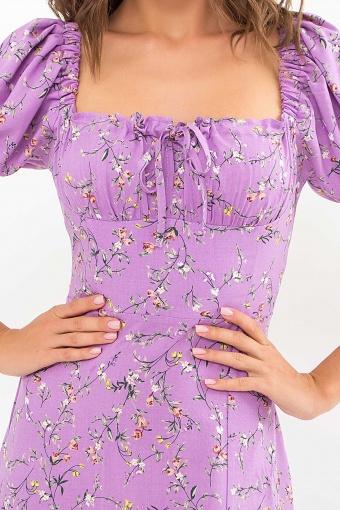 . Платье Билла к/р. Цвет: лиловый-цветы веточки недорого