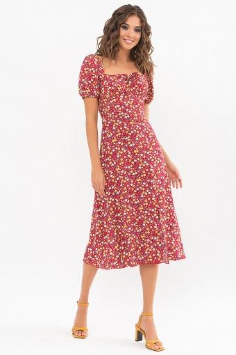 . Платье Билла к/р. Цвет: красный-желтые Розы купить